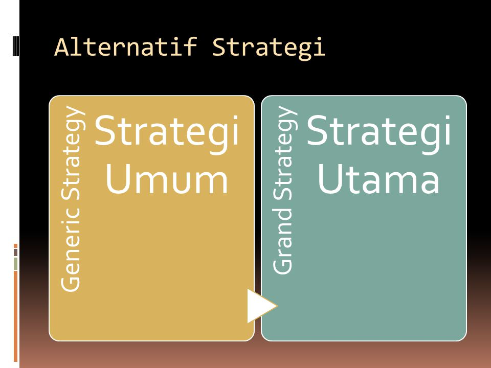 Alternatif Strategi Generic Strategy Strategi Umum Grand Strategy