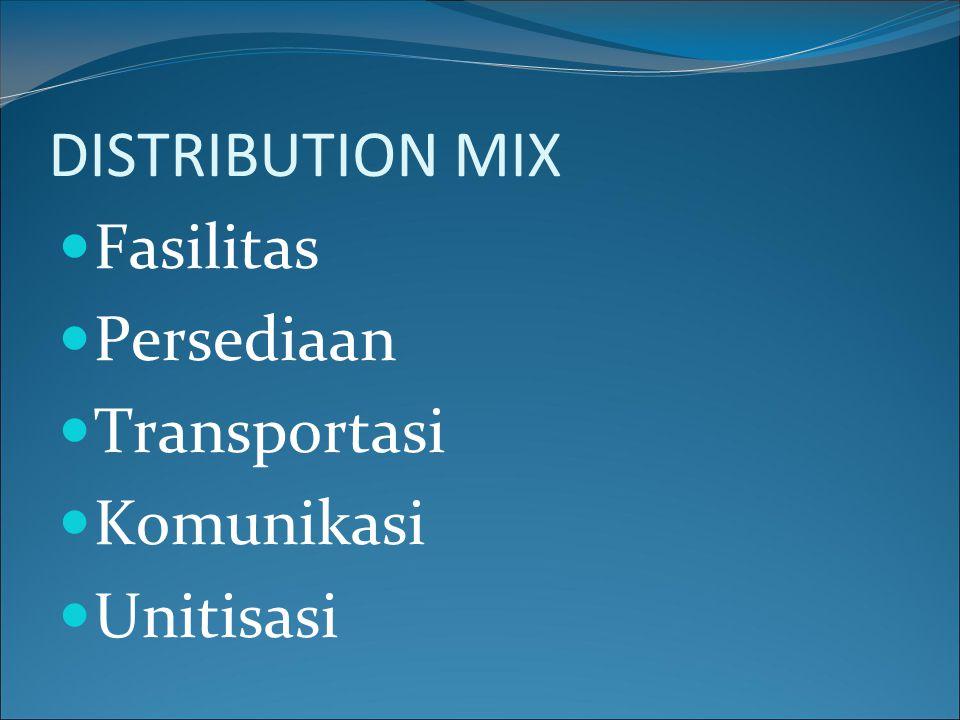DISTRIBUTION MIX Fasilitas Persediaan Transportasi Komunikasi