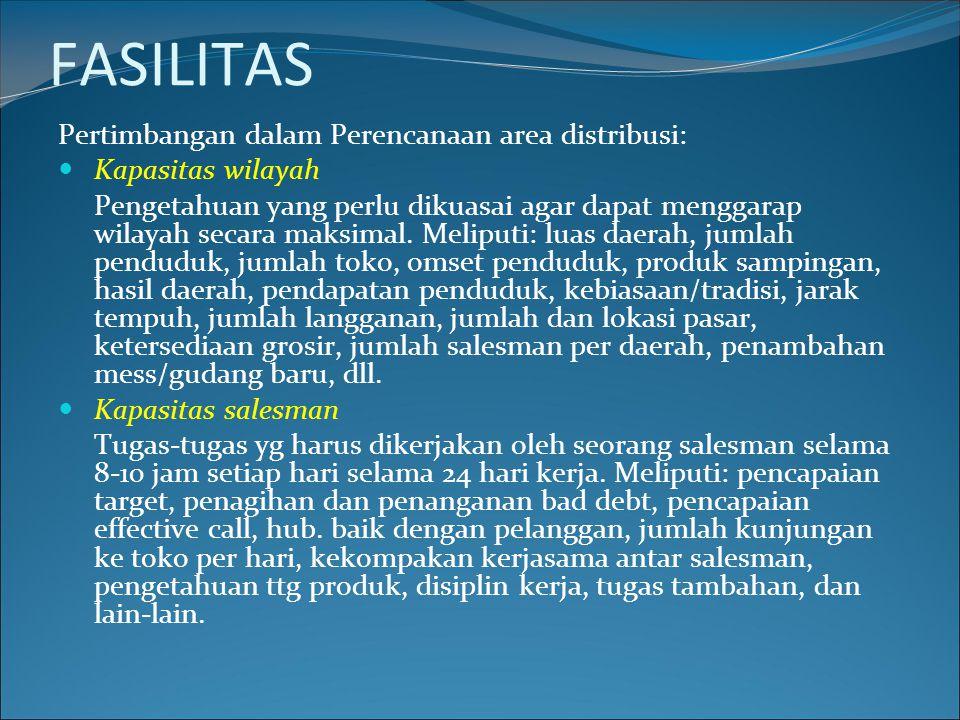 FASILITAS Pertimbangan dalam Perencanaan area distribusi: