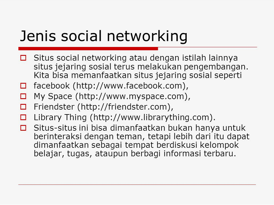 Jenis social networking