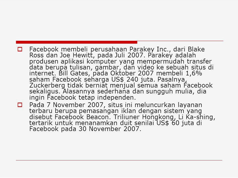 Facebook membeli perusahaan Parakey Inc
