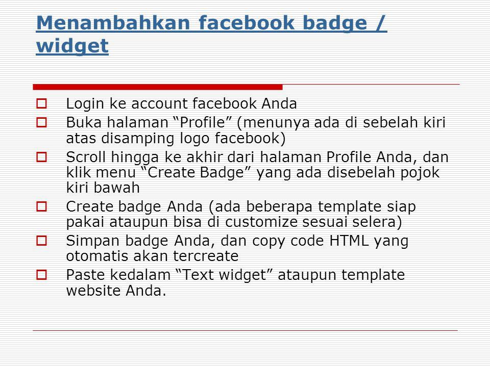 Menambahkan facebook badge / widget
