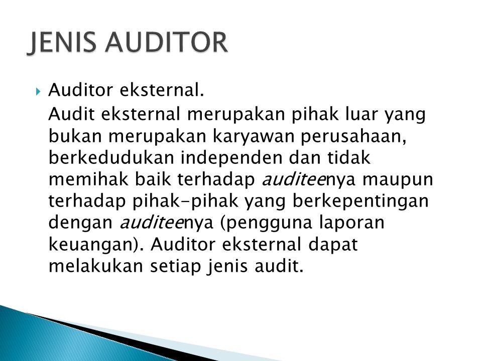JENIS AUDITOR Auditor eksternal.