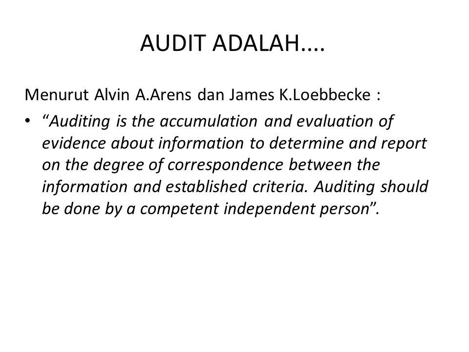 AUDIT ADALAH.... Menurut Alvin A.Arens dan James K.Loebbecke :