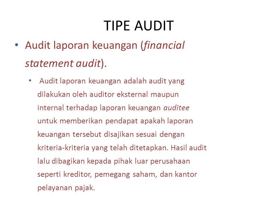 TIPE AUDIT Audit laporan keuangan (financial statement audit).
