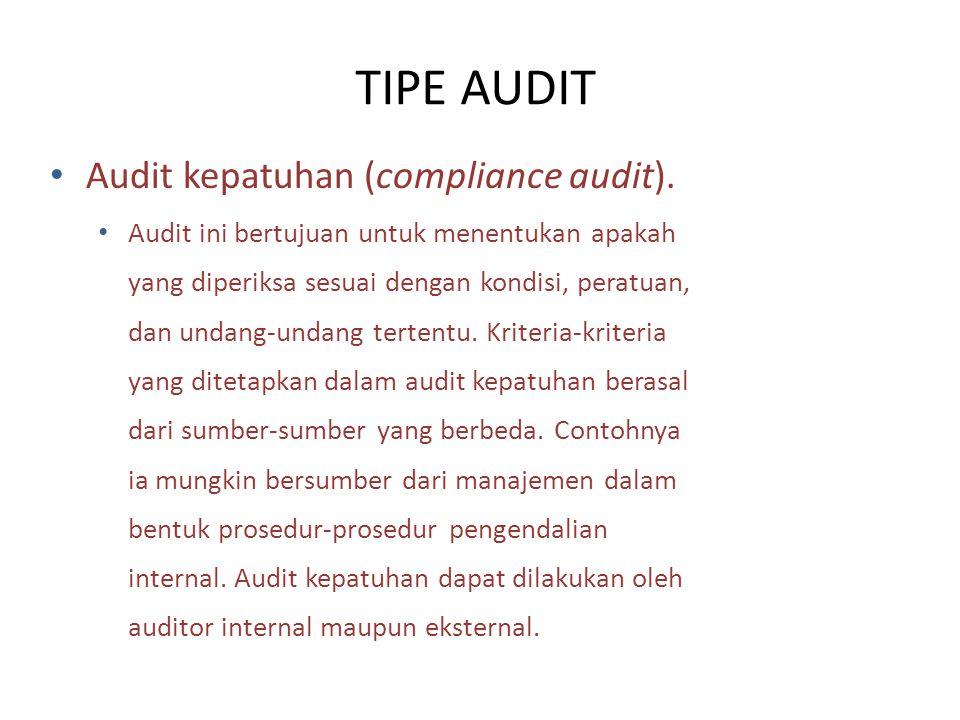 TIPE AUDIT Audit kepatuhan (compliance audit).