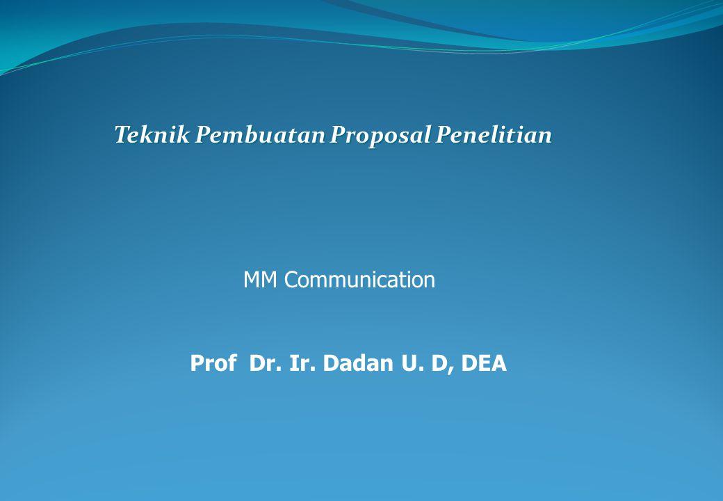 Teknik Pembuatan Proposal Penelitian