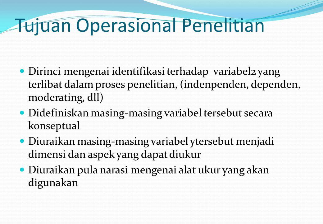 Tujuan Operasional Penelitian