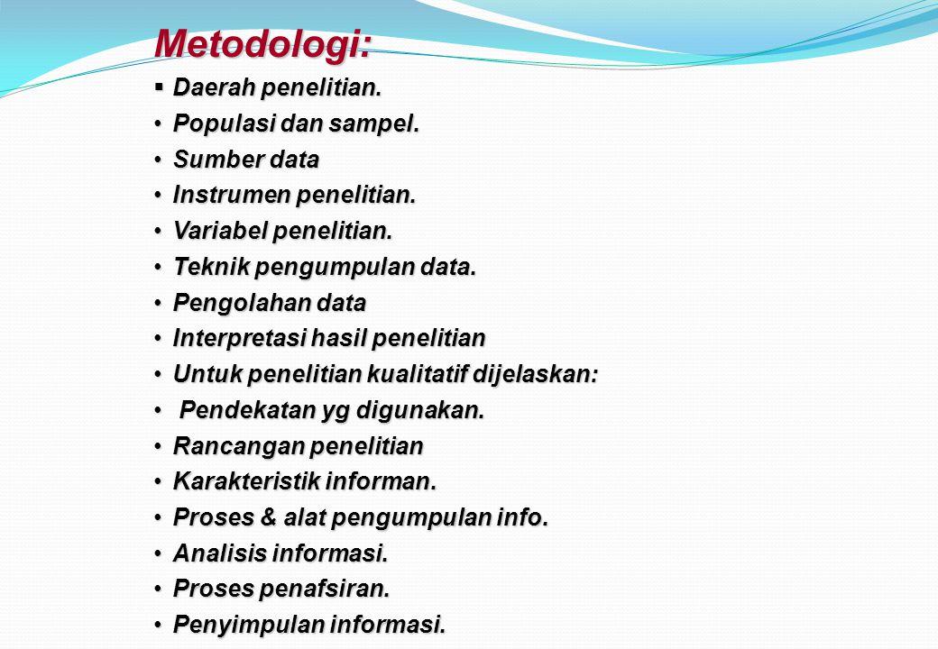 Metodologi: Daerah penelitian. Populasi dan sampel. Sumber data