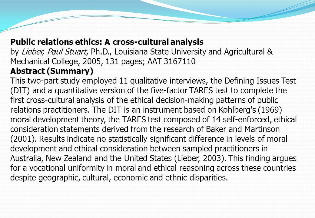 Public relations ethics: A cross-cultural analysis