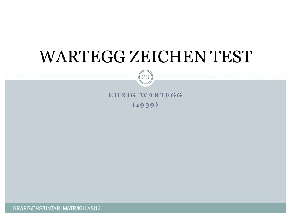WARTEGG ZEICHEN TEST EHRIG WARTEGG (1939)