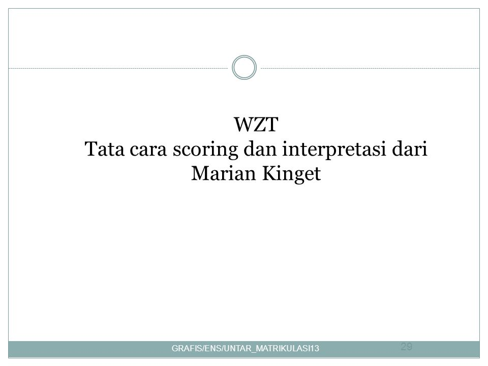 WZT Tata cara scoring dan interpretasi dari Marian Kinget