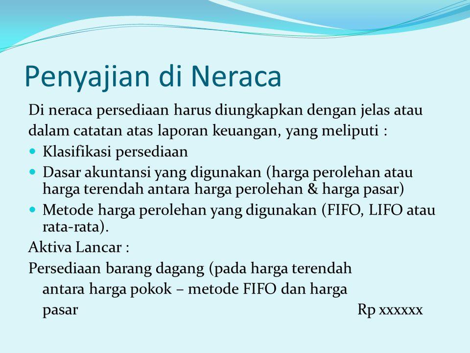 Penyajian di Neraca Di neraca persediaan harus diungkapkan dengan jelas atau. dalam catatan atas laporan keuangan, yang meliputi :