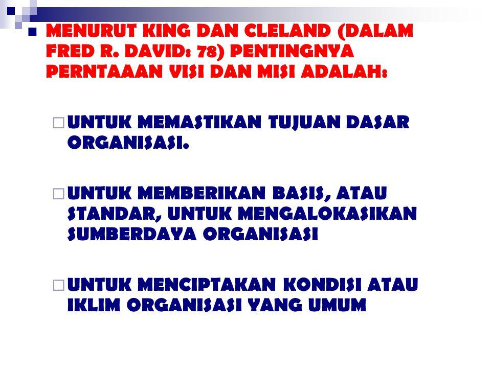 MENURUT KING DAN CLELAND (DALAM FRED R
