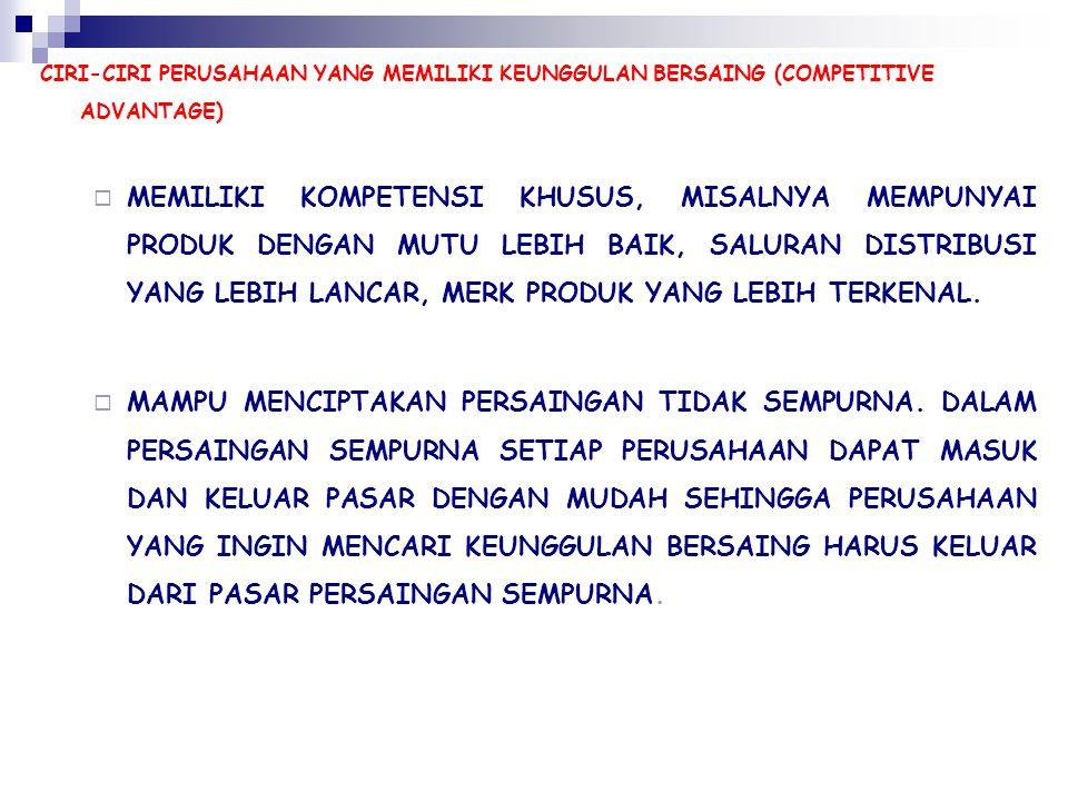 CIRI-CIRI PERUSAHAAN YANG MEMILIKI KEUNGGULAN BERSAING (COMPETITIVE ADVANTAGE)