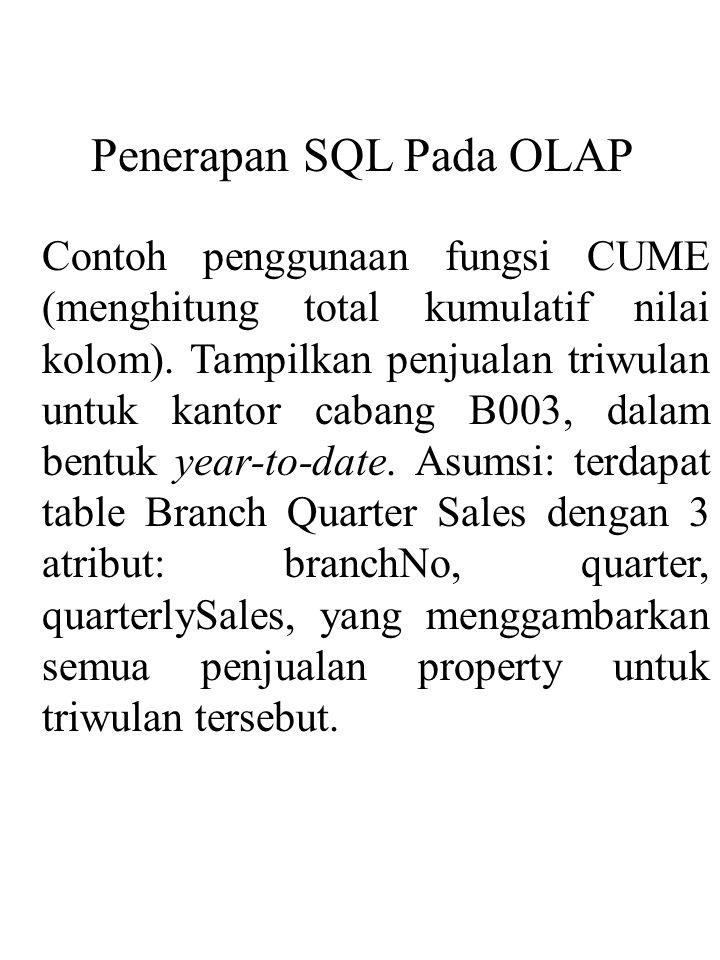 Penerapan SQL Pada OLAP
