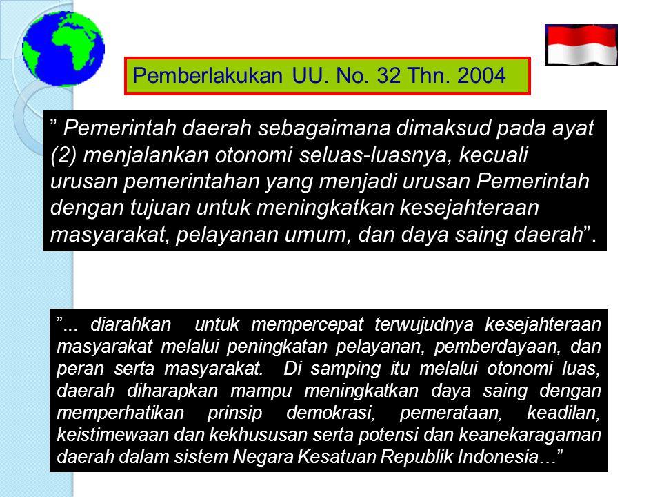 Pemberlakukan UU. No. 32 Thn. 2004