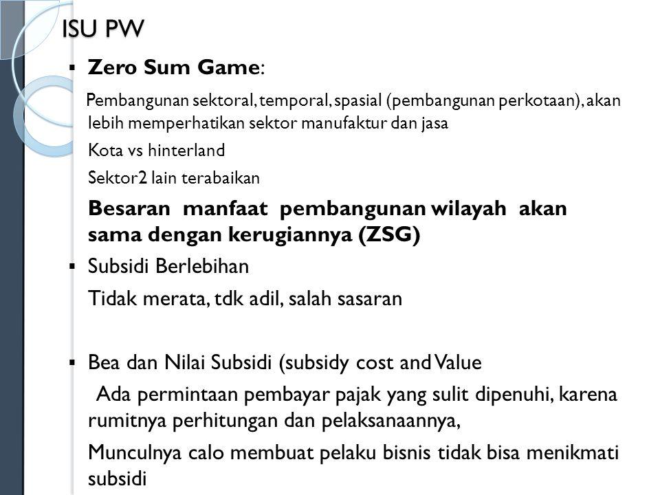 ISU PW Zero Sum Game: Pembangunan sektoral, temporal, spasial (pembangunan perkotaan), akan lebih memperhatikan sektor manufaktur dan jasa.