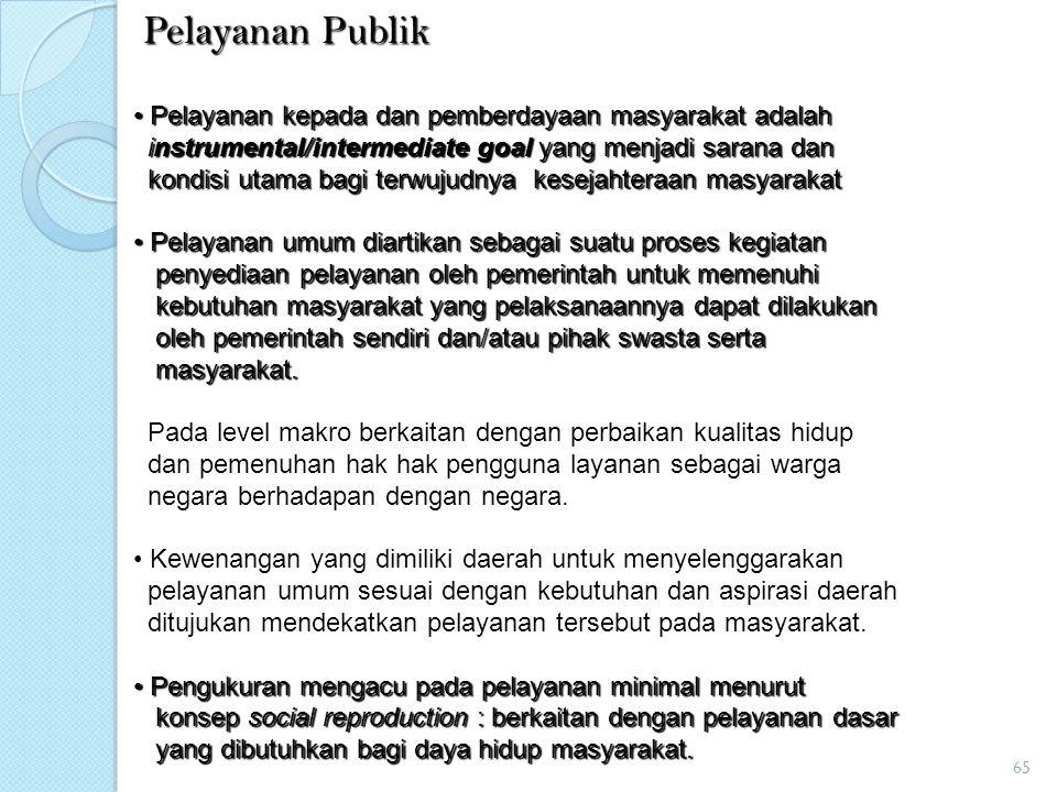 Pelayanan Publik Pelayanan kepada dan pemberdayaan masyarakat adalah