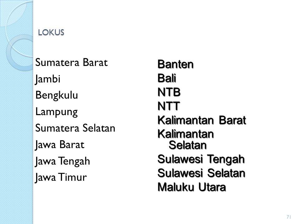 Sumatera Barat Banten Jambi Bali Bengkulu NTB Lampung NTT