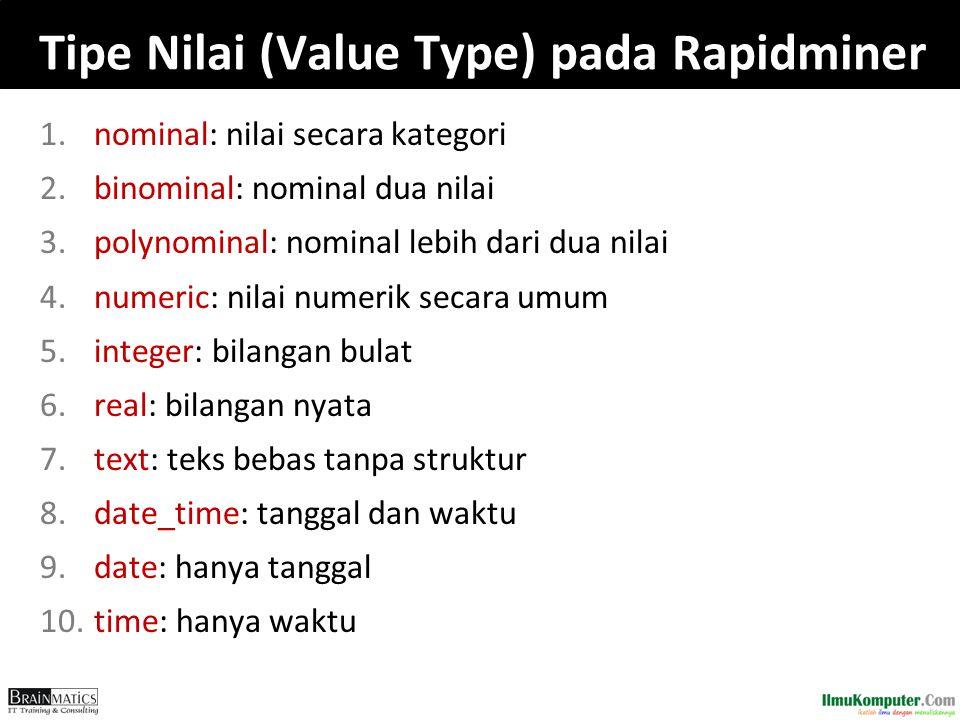 Tipe Nilai (Value Type) pada Rapidminer
