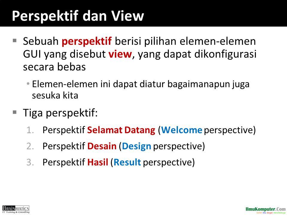 Perspektif dan View Sebuah perspektif berisi pilihan elemen-elemen GUI yang disebut view, yang dapat dikonfigurasi secara bebas.