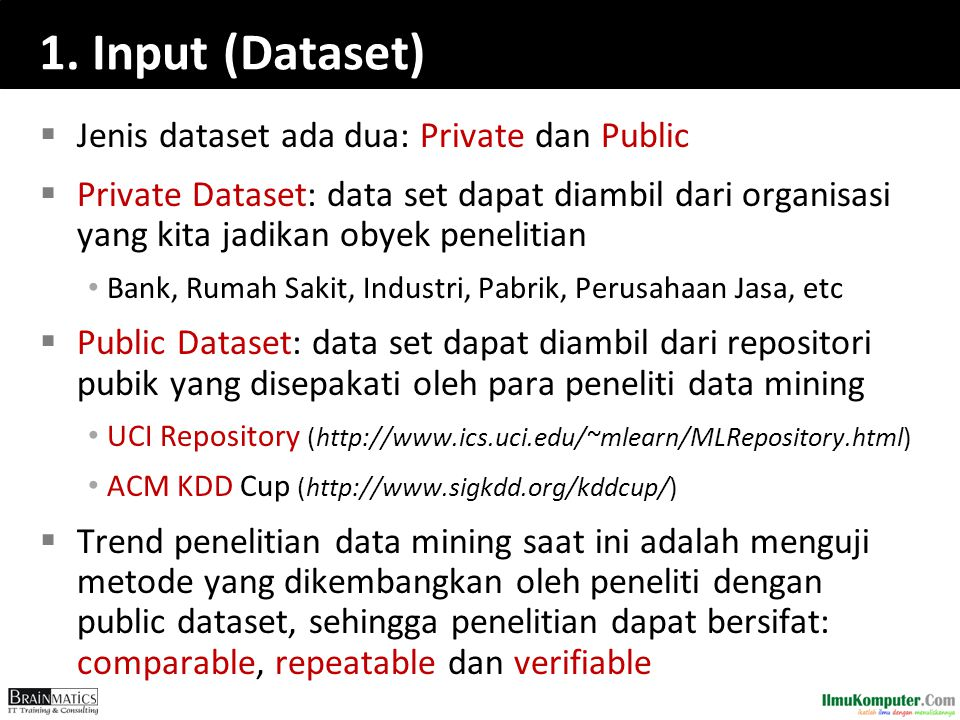 1. Input (Dataset) Jenis dataset ada dua: Private dan Public