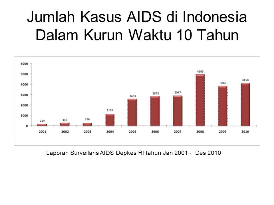 Jumlah Kasus AIDS di Indonesia Dalam Kurun Waktu 10 Tahun