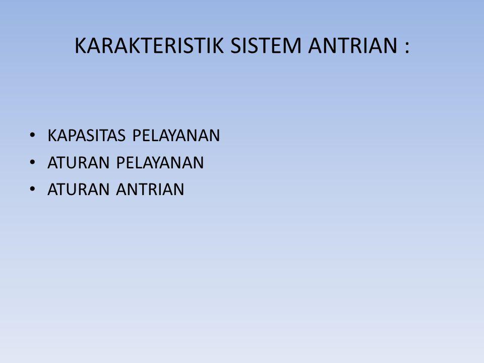 KARAKTERISTIK SISTEM ANTRIAN :