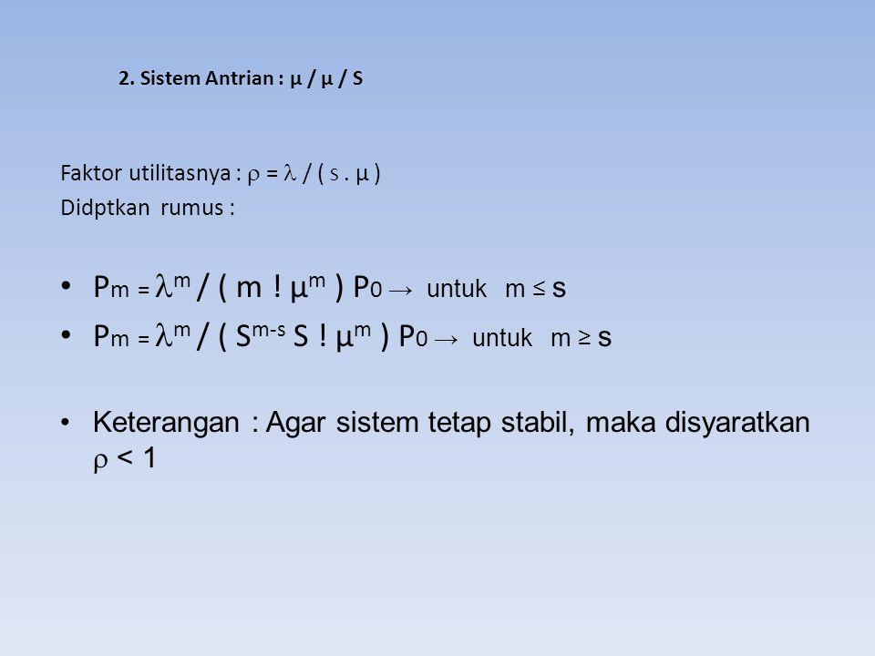 Pm = m / ( m ! µm ) P0 → untuk m ≤ s