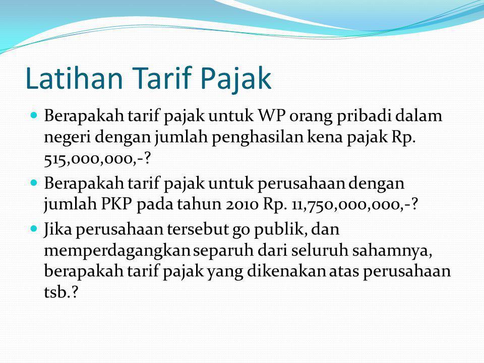 Latihan Tarif Pajak Berapakah tarif pajak untuk WP orang pribadi dalam negeri dengan jumlah penghasilan kena pajak Rp. 515,000,000,-