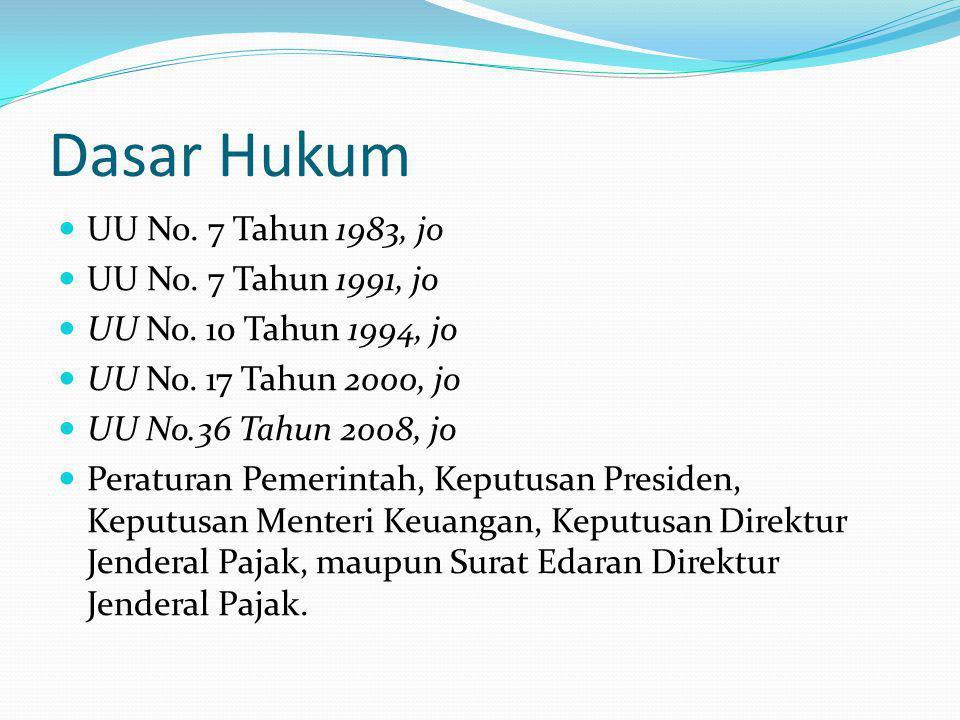 Dasar Hukum UU No. 7 Tahun 1983, jo UU No. 7 Tahun 1991, jo