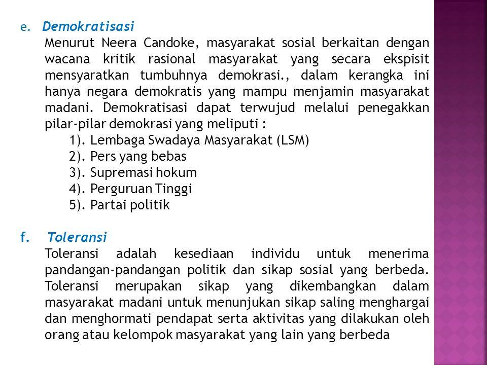 1). Lembaga Swadaya Masyarakat (LSM) 2). Pers yang bebas