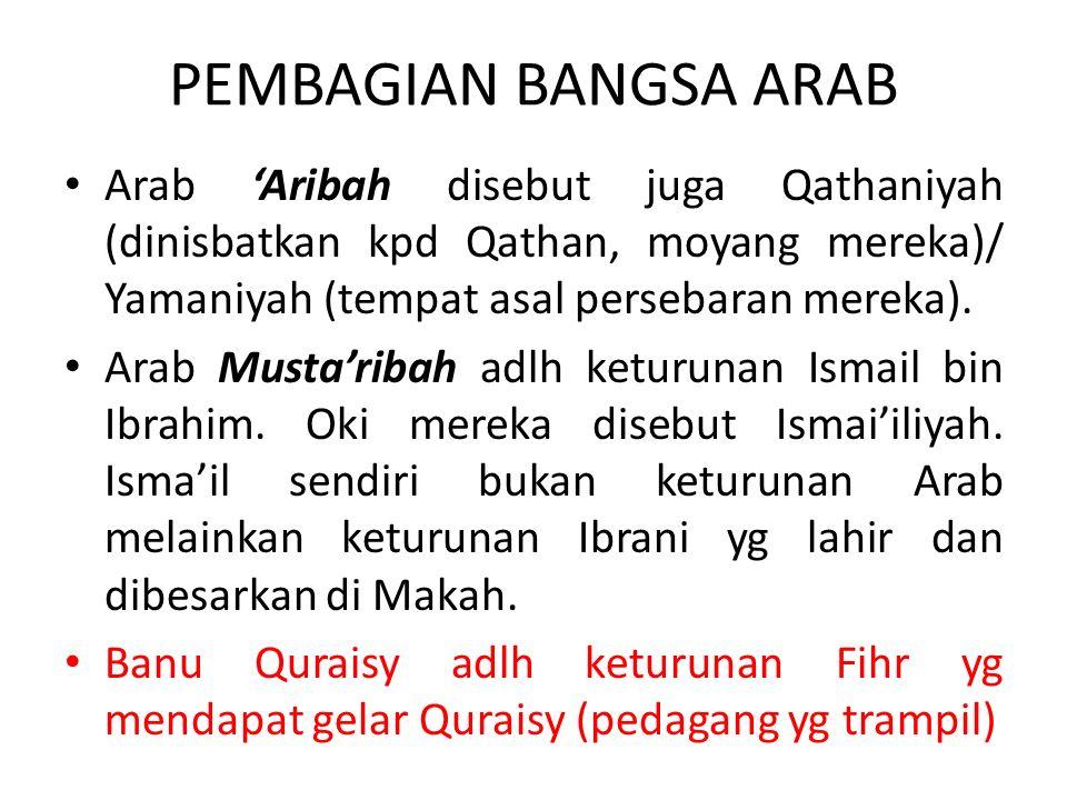PEMBAGIAN BANGSA ARAB Arab 'Aribah disebut juga Qathaniyah (dinisbatkan kpd Qathan, moyang mereka)/ Yamaniyah (tempat asal persebaran mereka).