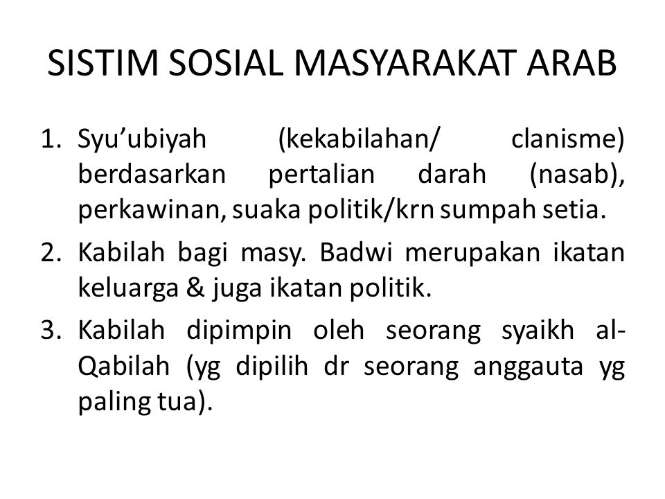 SISTIM SOSIAL MASYARAKAT ARAB