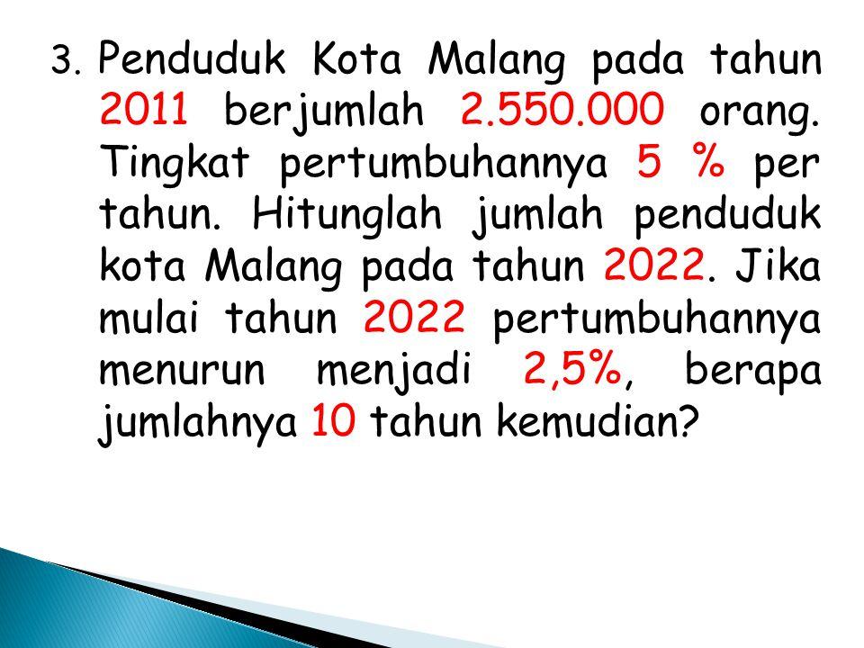 3. Penduduk Kota Malang pada tahun 2011 berjumlah 2. 550. 000 orang