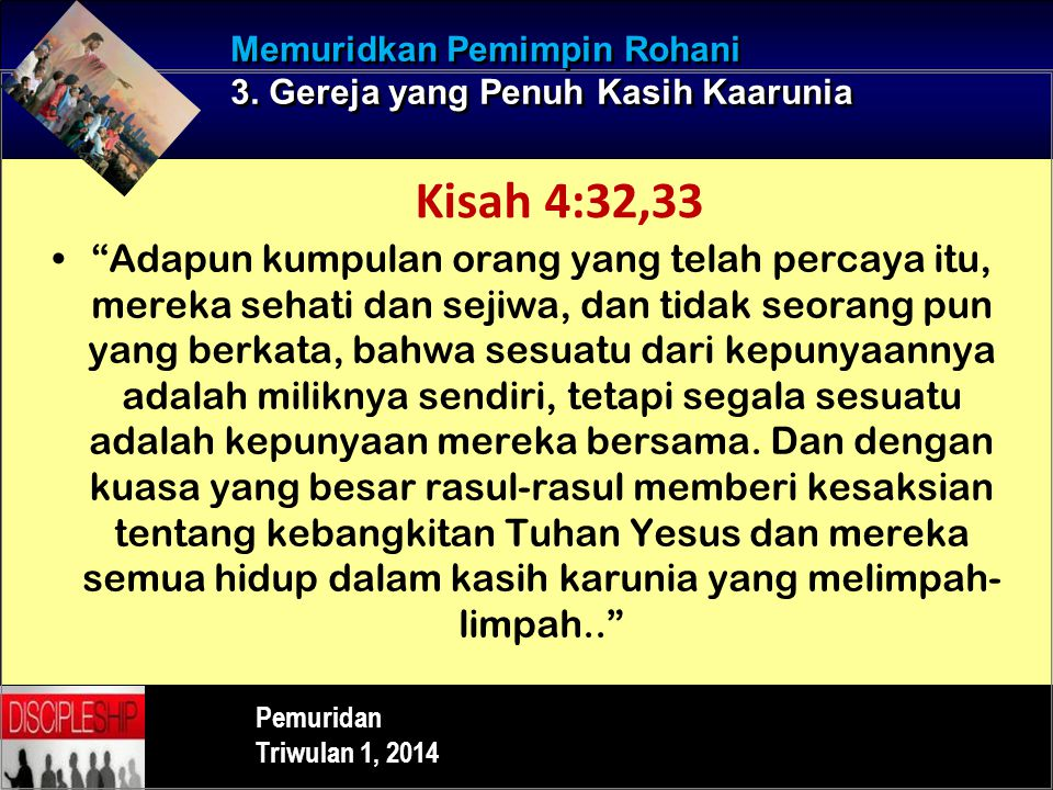 Memuridkan Pemimpin Rohani 3. Gereja yang Penuh Kasih Kaarunia