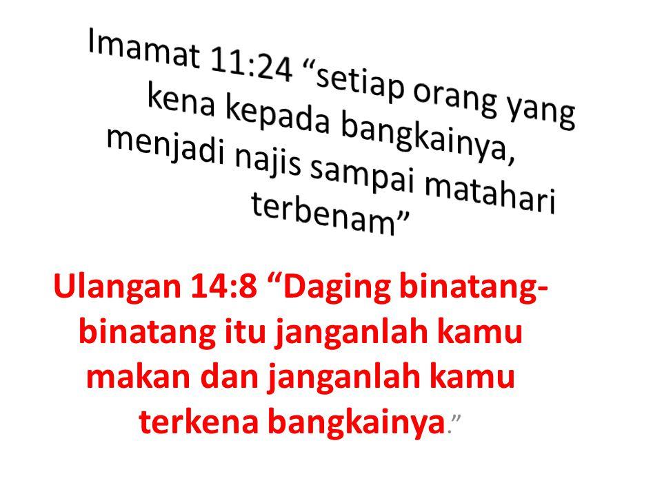 Imamat 11:24 setiap orang yang kena kepada bangkainya, menjadi najis sampai matahari terbenam