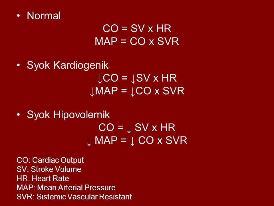 Normal CO = SV x HR MAP = CO x SVR Syok Kardiogenik ↓CO = ↓SV x HR