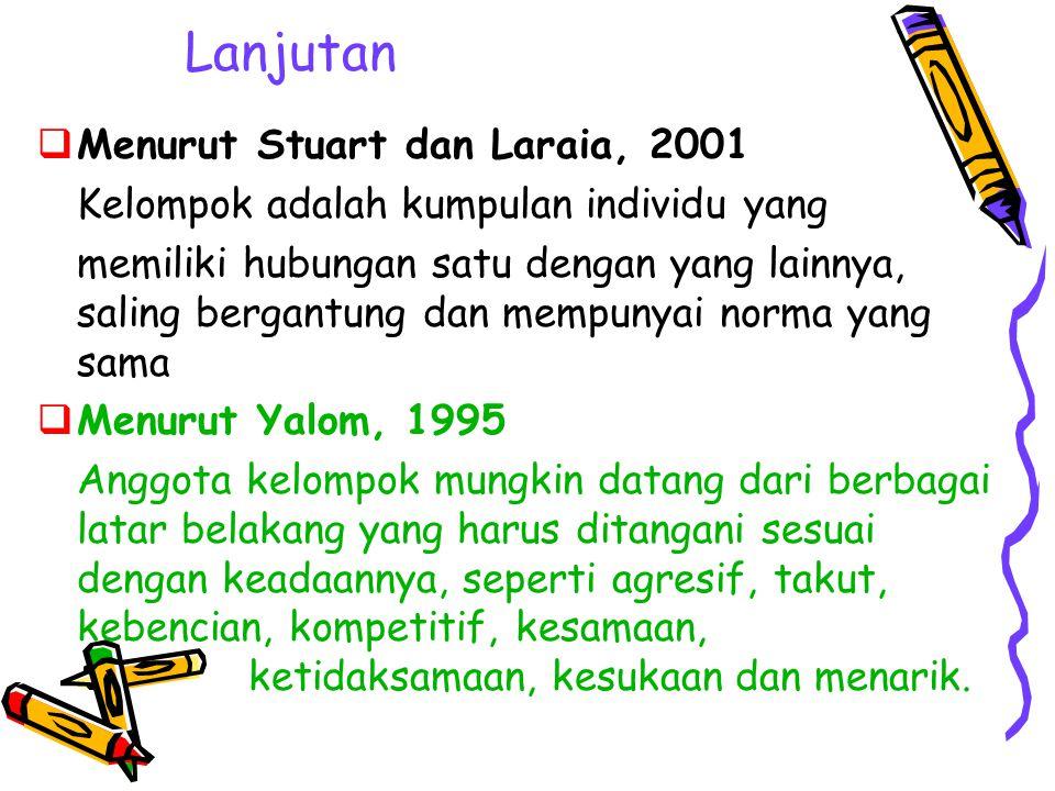 Lanjutan Menurut Stuart dan Laraia, 2001