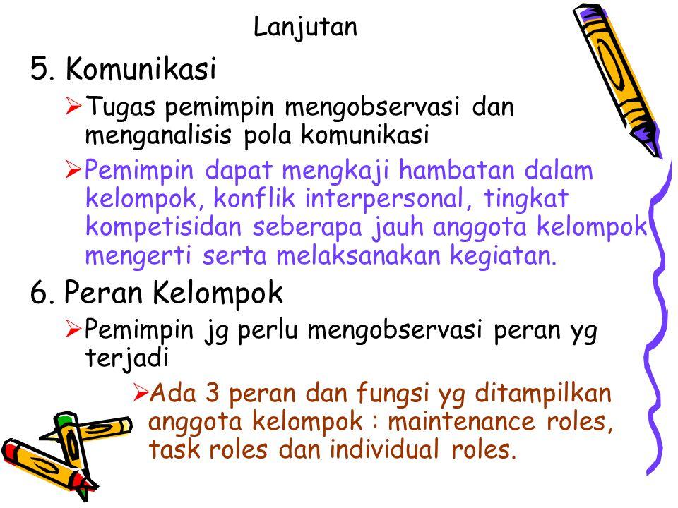 5. Komunikasi 6. Peran Kelompok Lanjutan