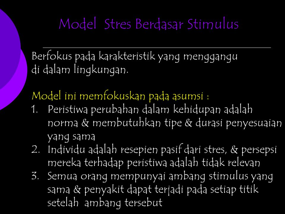 Model Stres Berdasar Stimulus