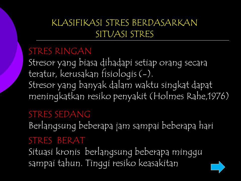 KLASIFIKASI STRES BERDASARKAN SITUASI STRES