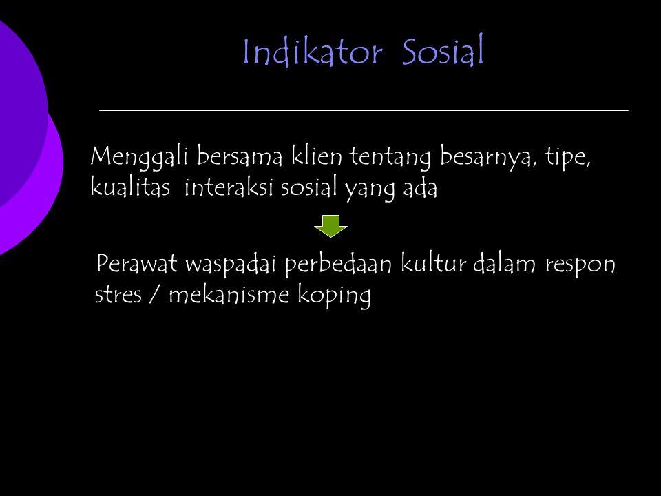 Indikator Sosial Menggali bersama klien tentang besarnya, tipe, kualitas interaksi sosial yang ada.