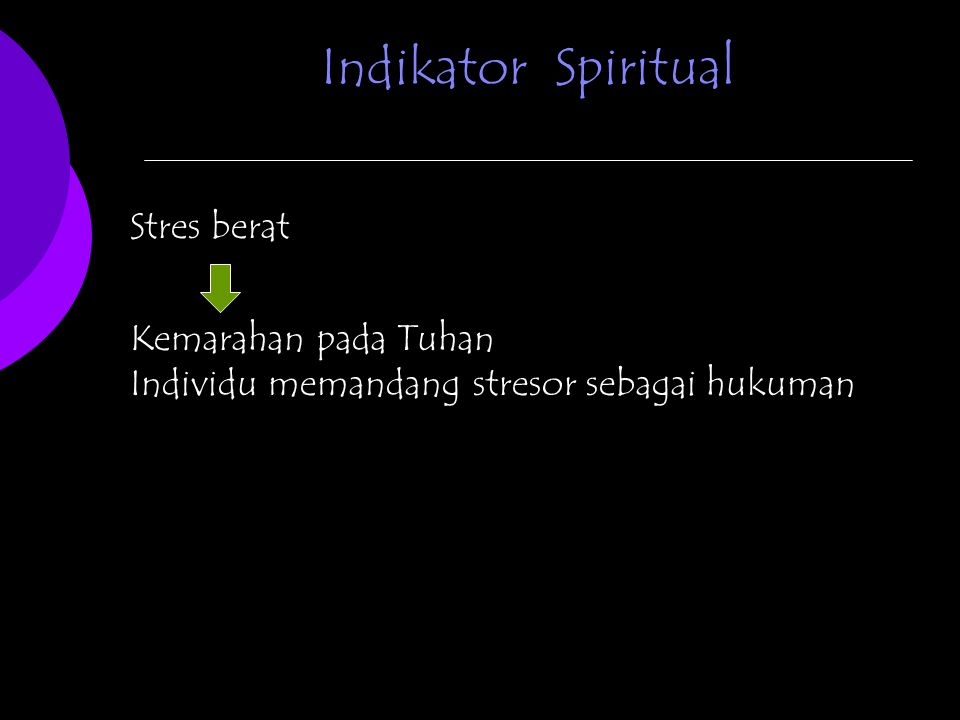 Indikator Spiritual Stres berat Kemarahan pada Tuhan