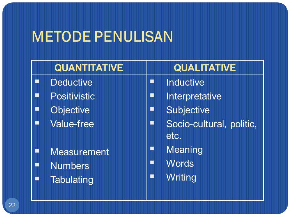 METODE PENULISAN QUANTITATIVE QUALITATIVE Deductive Positivistic