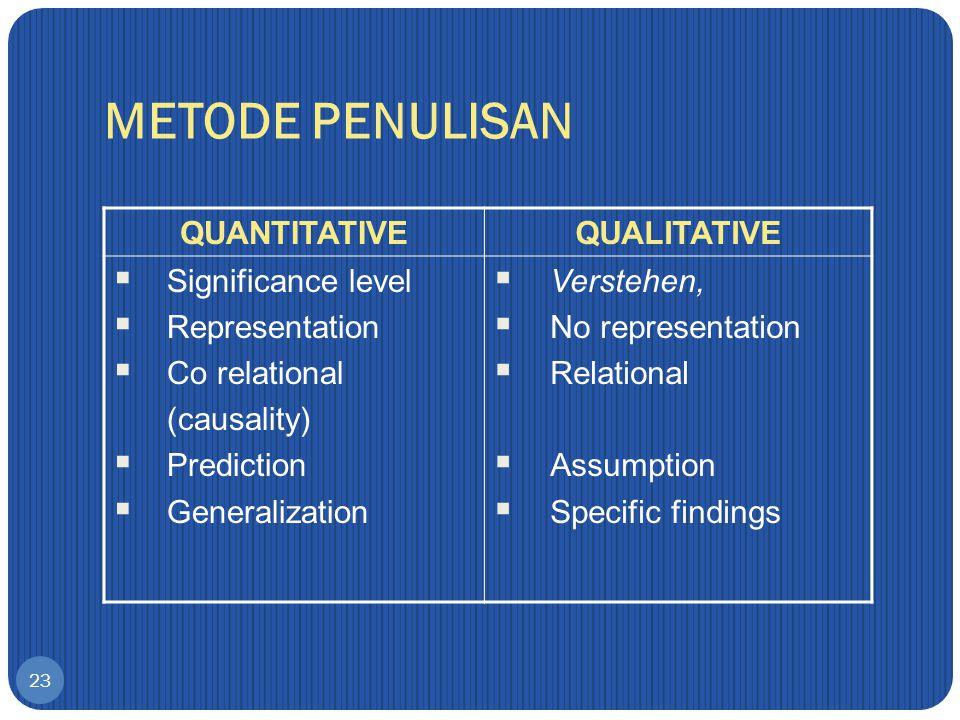 METODE PENULISAN QUANTITATIVE QUALITATIVE Significance level