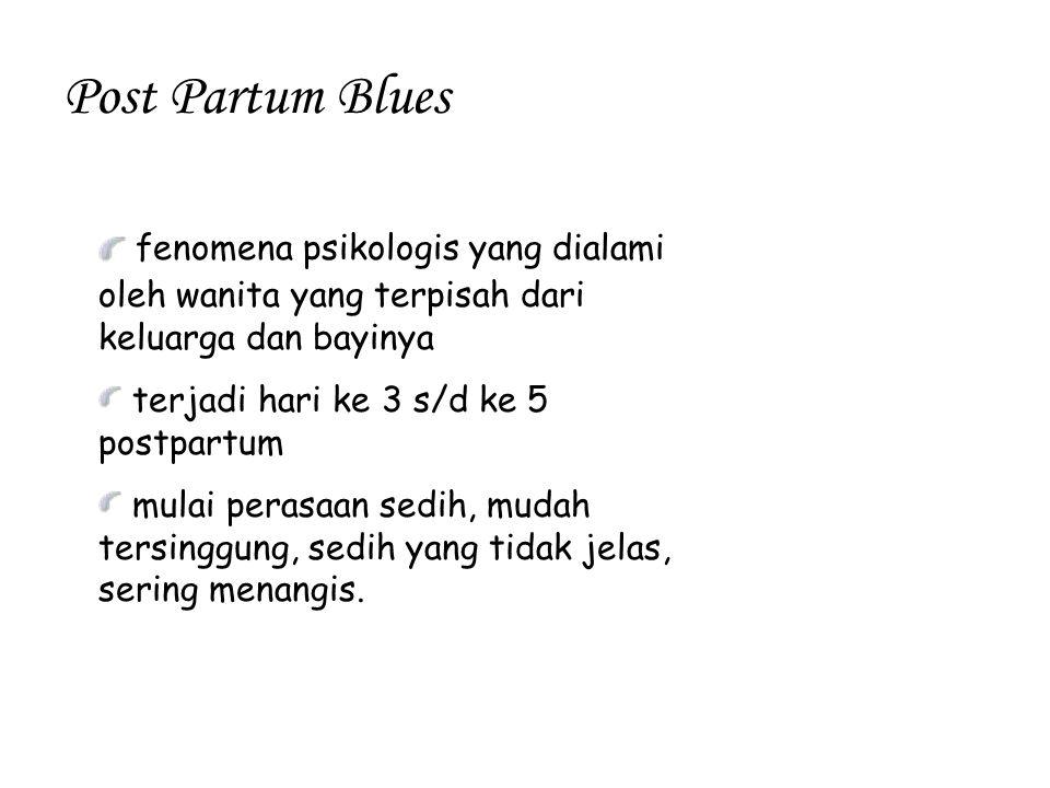 Post Partum Blues fenomena psikologis yang dialami oleh wanita yang terpisah dari keluarga dan bayinya.