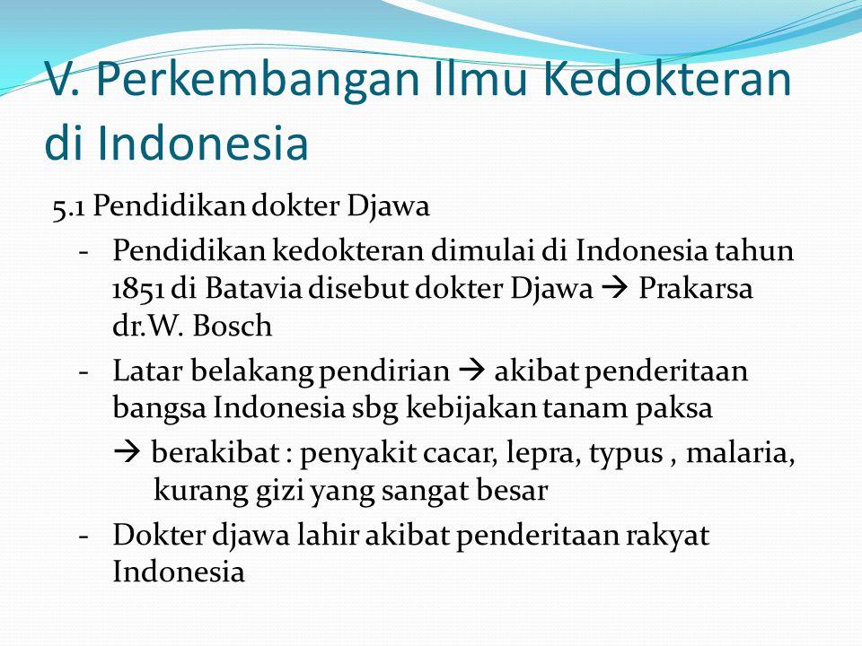 V. Perkembangan Ilmu Kedokteran di Indonesia