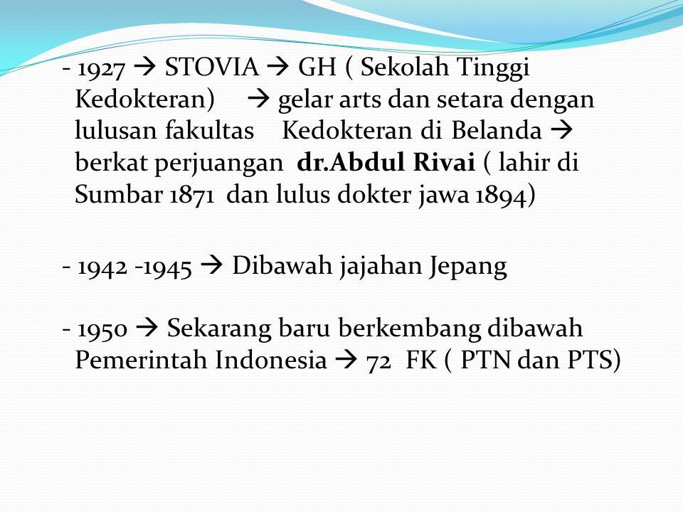 - 1927  STOVIA  GH ( Sekolah Tinggi Kedokteran)  gelar arts dan setara dengan lulusan fakultas Kedokteran di Belanda  berkat perjuangan dr.Abdul Rivai ( lahir di Sumbar 1871 dan lulus dokter jawa 1894) - 1942 -1945  Dibawah jajahan Jepang - 1950  Sekarang baru berkembang dibawah Pemerintah Indonesia  72 FK ( PTN dan PTS)